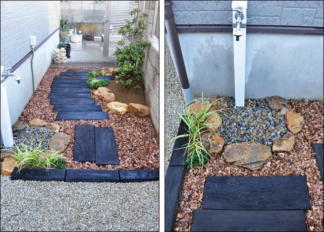 駐車場側から眺めるお庭と水栓周り