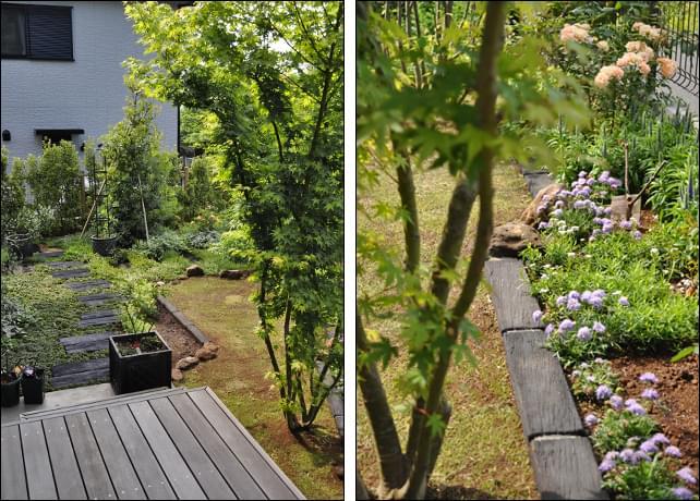 コンクリート枕木のアプローチとナチュラルデザインの花壇