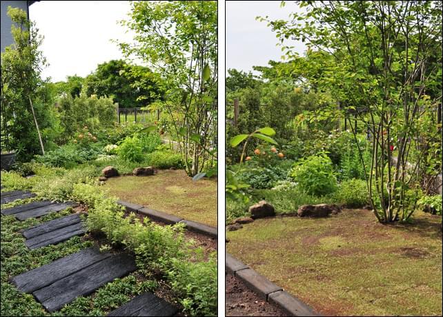 アプローチ・花壇・芝庭による区分けデザイン