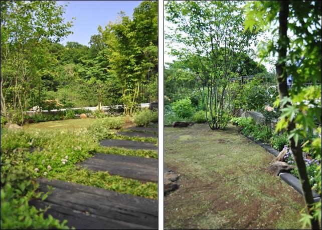 背景の里山がお庭を広大に見せる借景効果