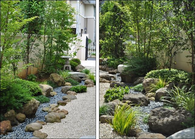 数多い庭石を植栽で和らげる