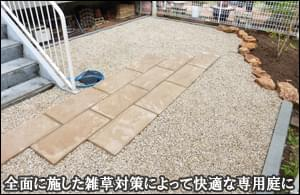 雑草の生えやすいマンション専用庭に全面的な雑草対策を-松戸市K様邸