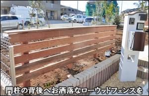 システム門柱の背後へローウッドフェンスを施工してアクセントに-流山市O様邸