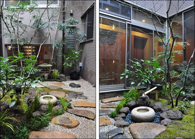 坪庭のメインとなる手水鉢周りのデザイン構成