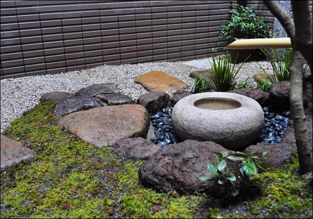 手水鉢周りの苔の表情
