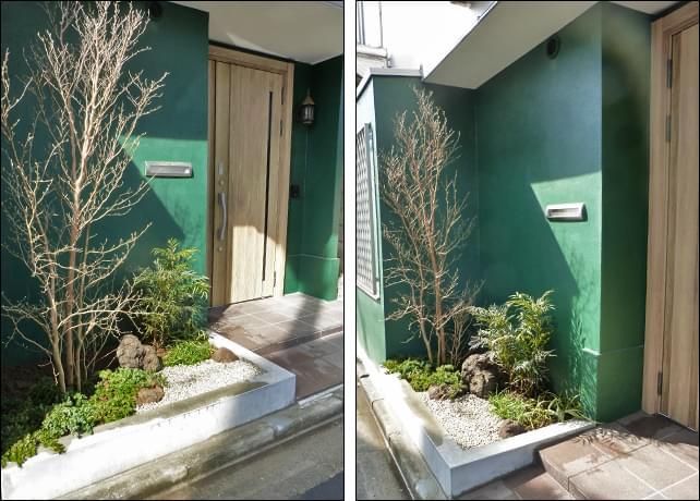 玄関横へ施工した小庭の風景