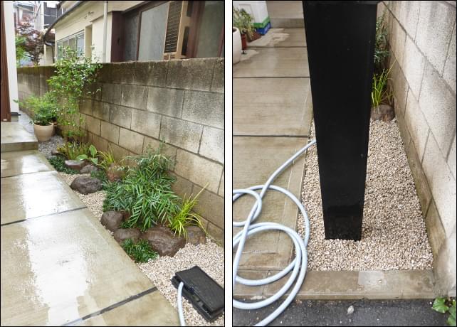 小さな自然石と下草でデザインされた小庭