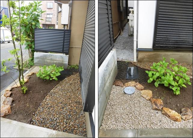 花壇の裏手はサイクルスペースとして砂利敷き仕上げ