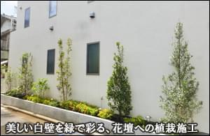 植木の緑がお住まいの外壁を彩る、花壇への植栽-江戸川区W様邸