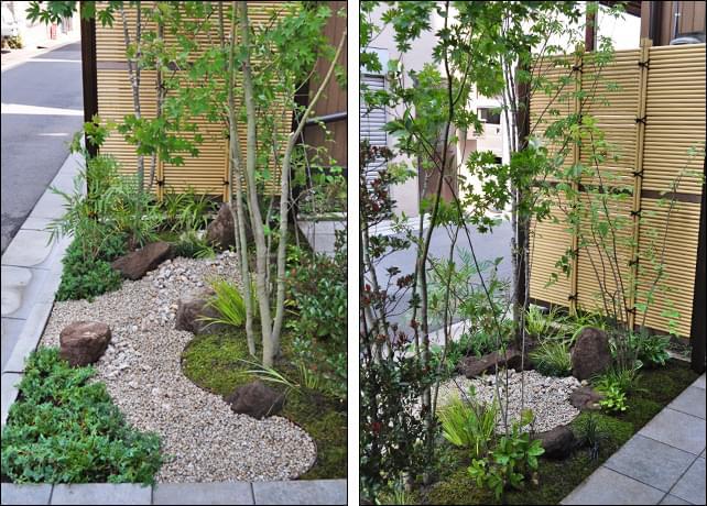 小さな庭で枯山水の流れを表現