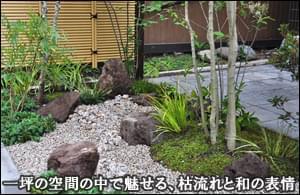 一坪の中で枯れ流れと和の風情を感じる小庭-台東区A様マンションエントランス