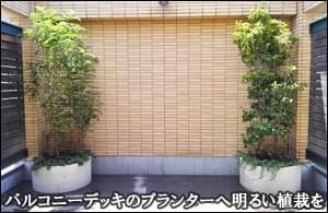 デッキバルコニーに設置されたプランターへ緑濃い植木の植栽を-葛飾区A様邸