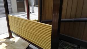 人工竹材の積み上げ