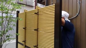 上半分の人工竹材の縛り付け