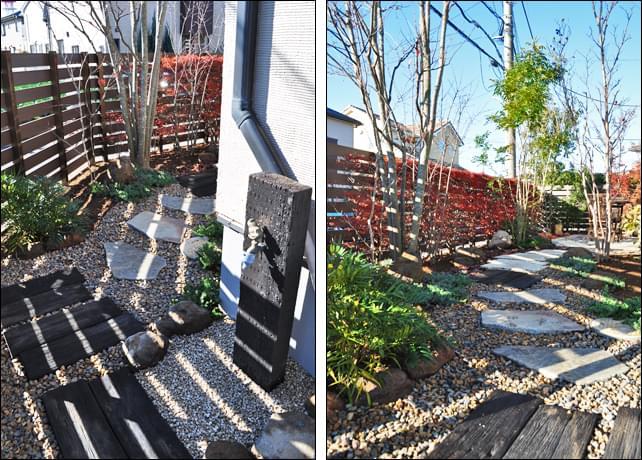 立水栓周りも主庭と同じくナチュラルガーデンの雰囲気を