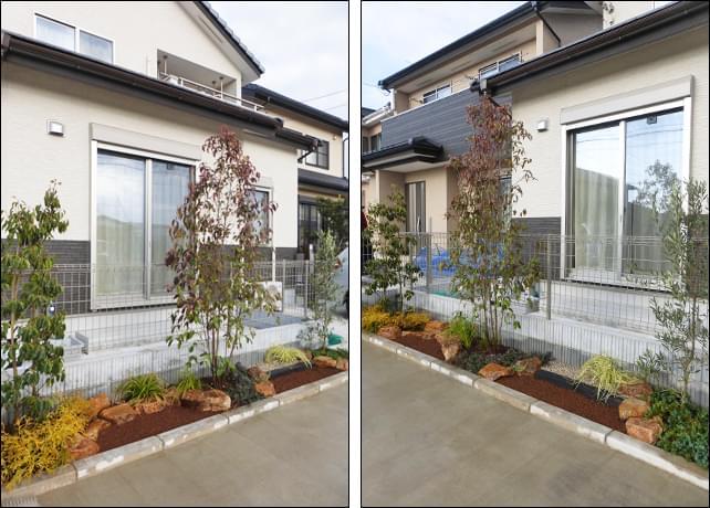2つの花壇はナチュラルなデザインに