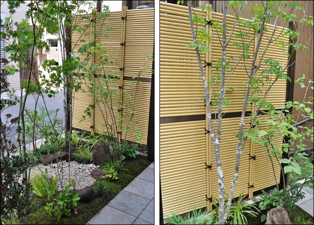 小さな和風の庭を引き立てる人工竹垣