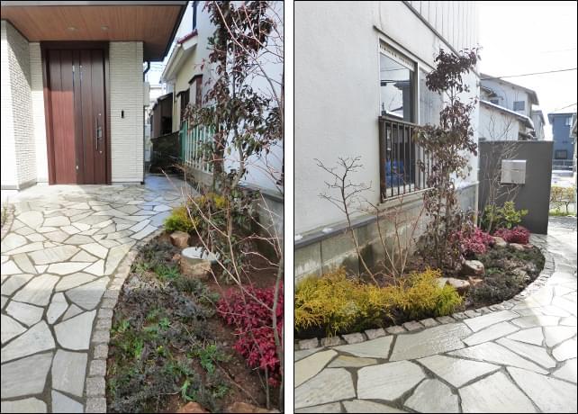 玄関アプローチと洋風植栽群
