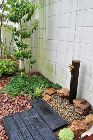 庭の隅へグリーンを添えるソヨゴ