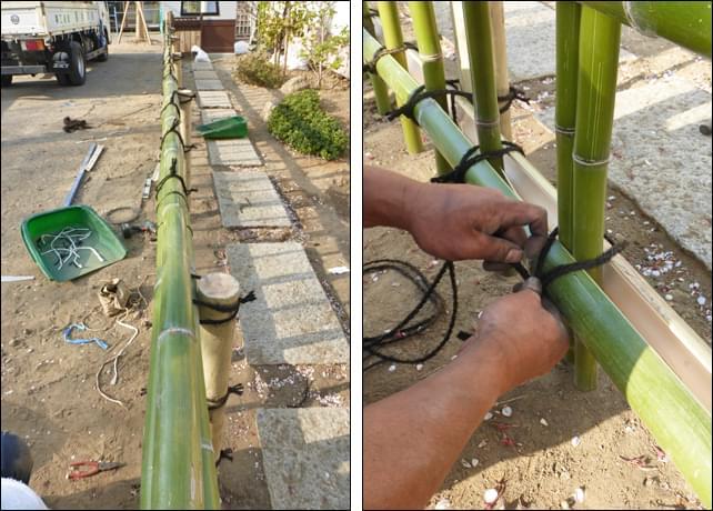 笠竹と挟み竹で構成される金閣寺垣