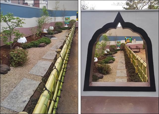 低木類と砂利敷きでデザインされた和庭