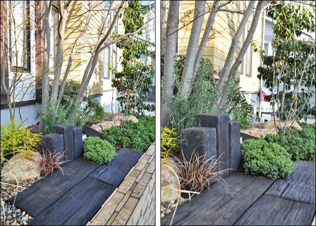 枕木調マテリアルとコニファー類の植栽