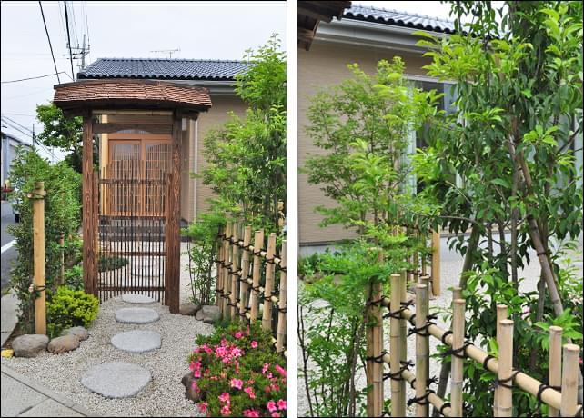 玄関までの風情と植栽による目隠し効果