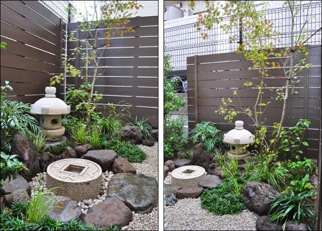 日陰の雰囲気を活かした坪庭風デザイン