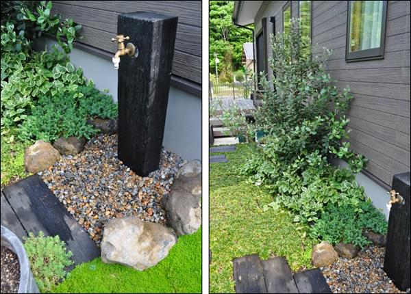 庭に溶け込む立水栓周りのデザイン