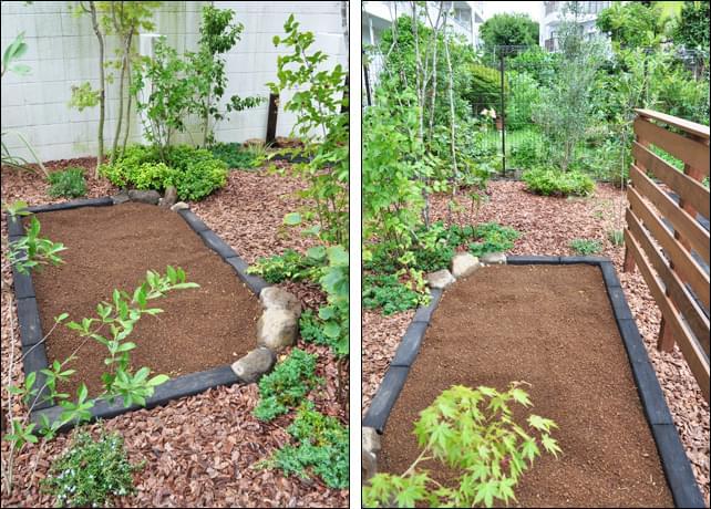 広く作った菜園と、バークチップエリア