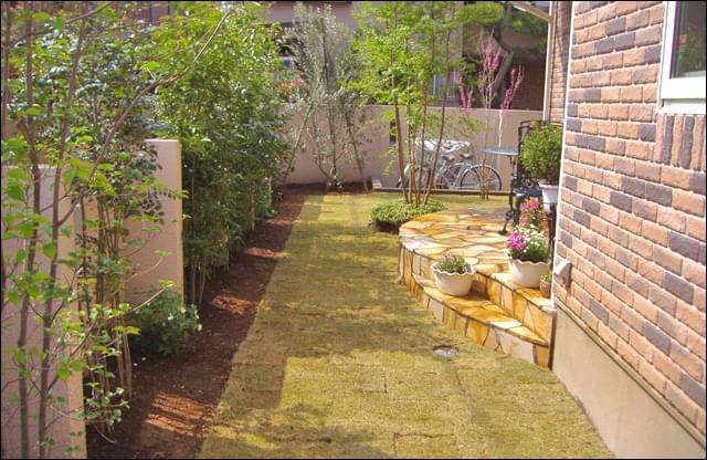 庭全面を覆う芝生がお住まいを引き立てる