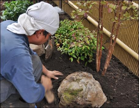 植物や自然石等、優しい素材を中心に