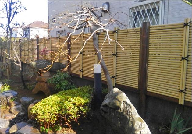 植栽の輪郭が垣根に浮かび上がるスクリーン効果