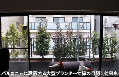 4基の大型プランター植栽によって広範囲の目隠しを-文京区A様邸