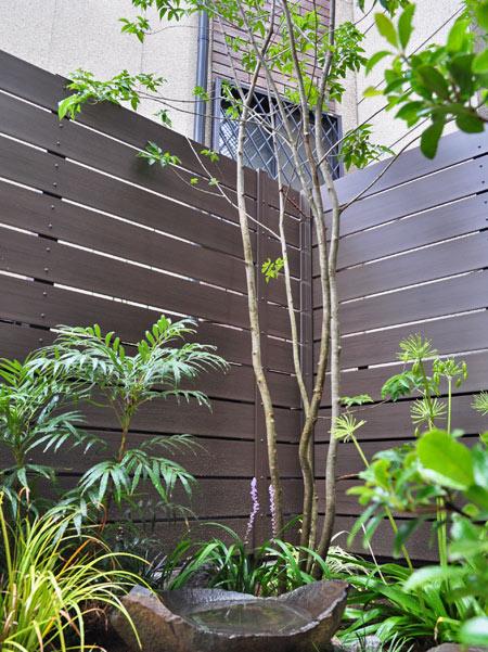フェンスの効果で庭木の数を最低限に