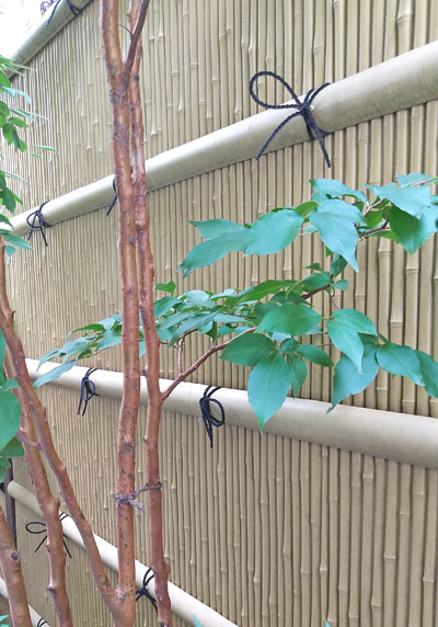 パネルを貼り付けた様には見えない竹垣の意匠