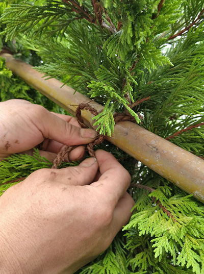 風止めとして横向きに通した竹に木を結束