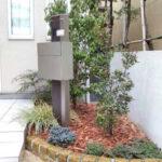 【植栽工事】日陰の花壇へシンボルツリーのソヨゴと低木をレイアウト